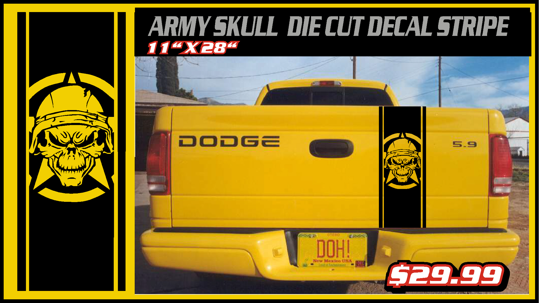 Army Skull Tailgate Graphic Decal Decals Sticker Di Cute Dodge Chevy Ford