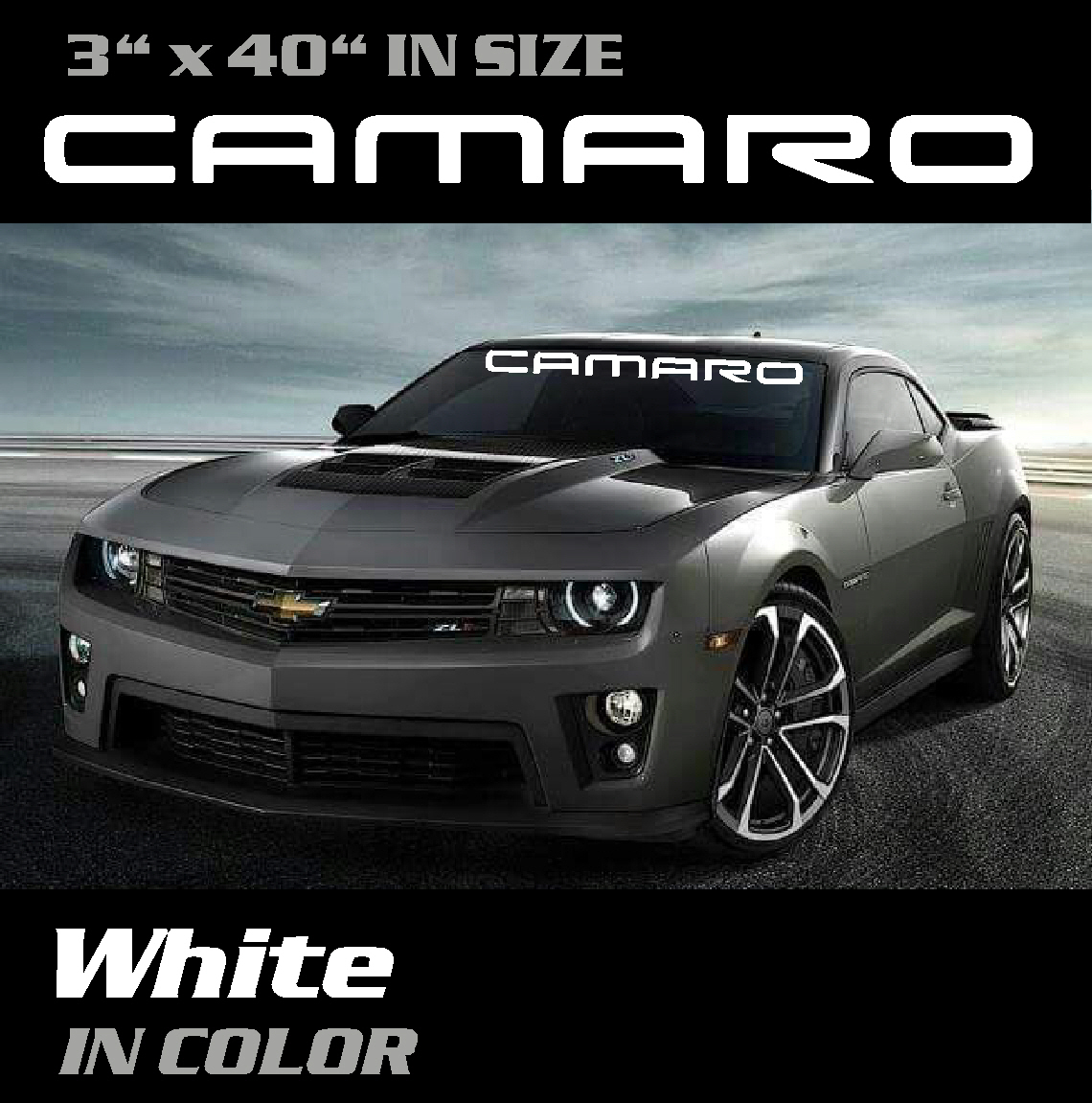Emblem Decal 3.5 inch by 36 inch Yellow and Silver Camaro SS Windshield Banner Graphic Sticker