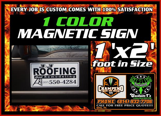 Custom Magnetic Signs One Color Magnetic Sign