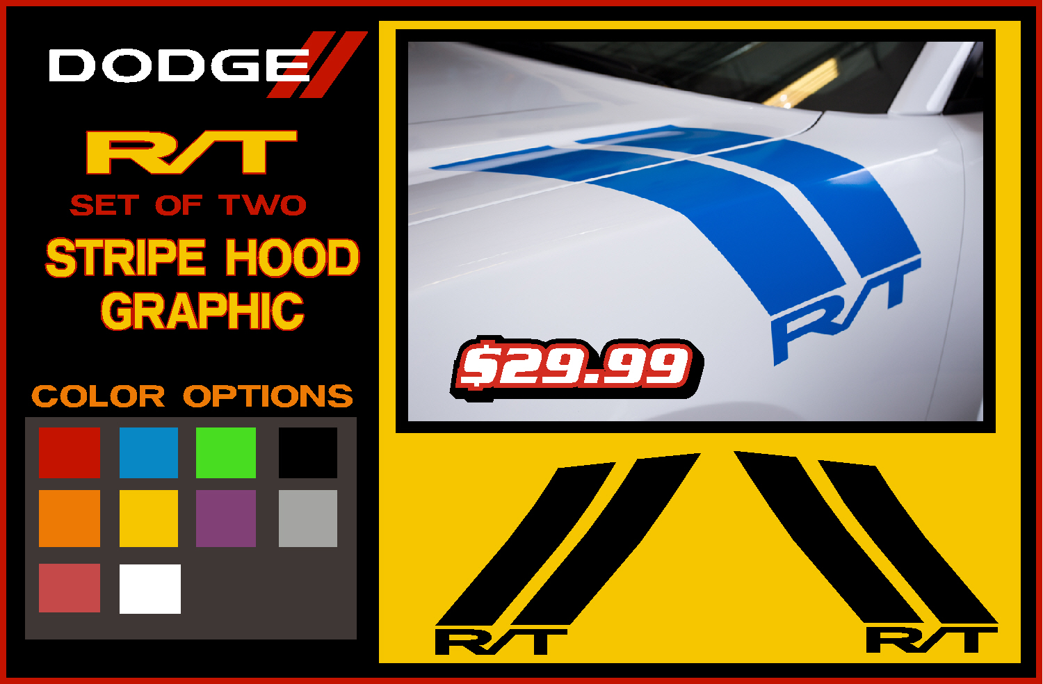 Dodge Hood Fender Stripes Challenger / Charger RAM RT Vinyl Decal Hemi Decals