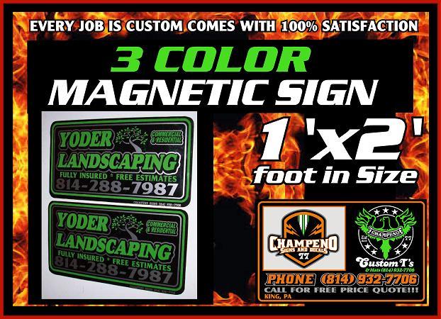 Custom Magnetic Signs - Bulk Magnetic Signs - Three Color Magnetic Signs - Cheap Magnetic Signs